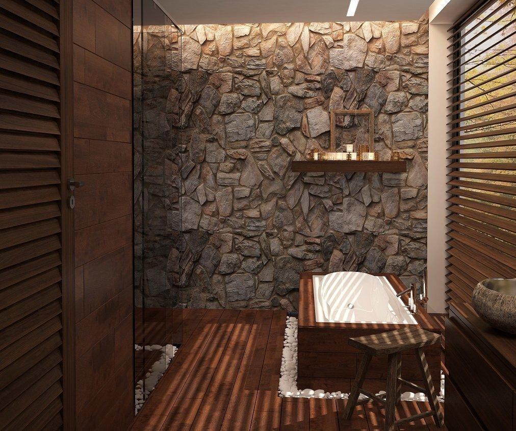 Оригинальный дизайн ванной в коричневом цвете
