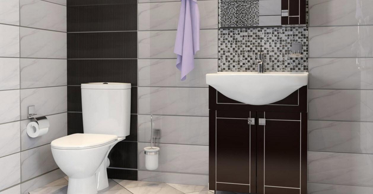 Двухцветный декор ванной