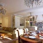 Роскошный интерьер кухни-гостиной