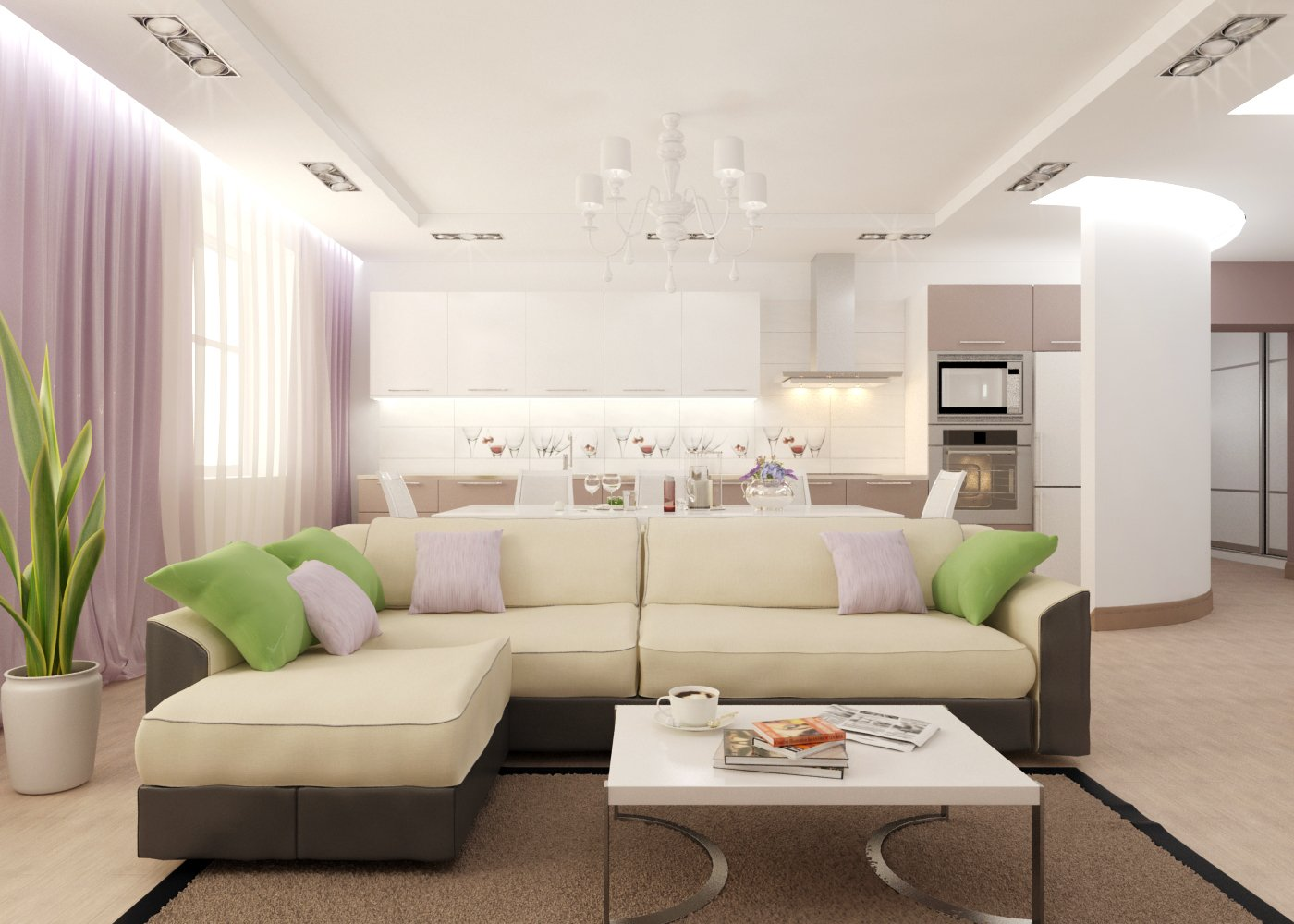Широкий диван в кухне-гостиной