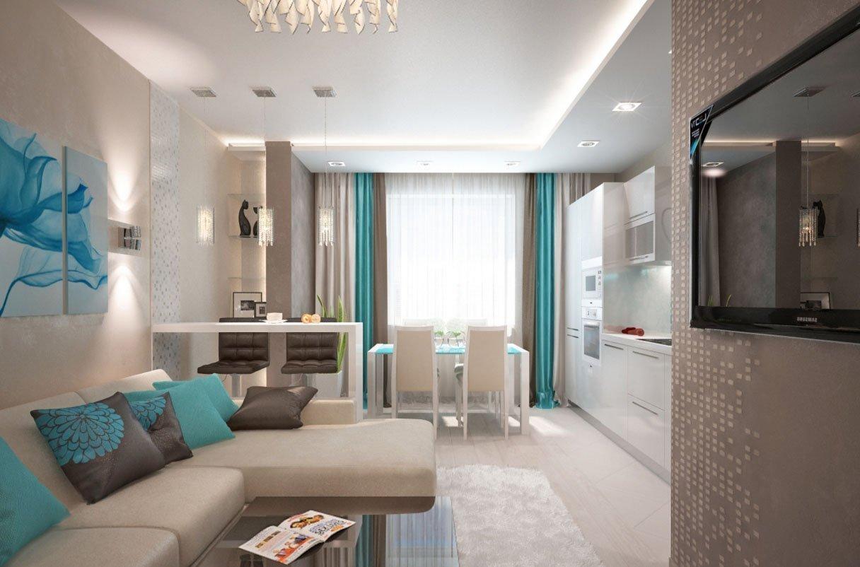 Дизайн кухни-гостиной 18 кв м