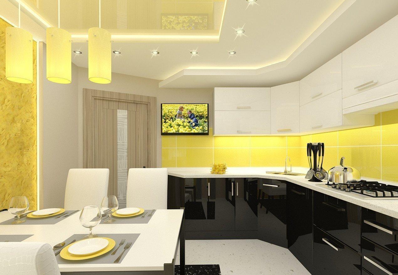 Желто-белый интерьер кухни в квартире