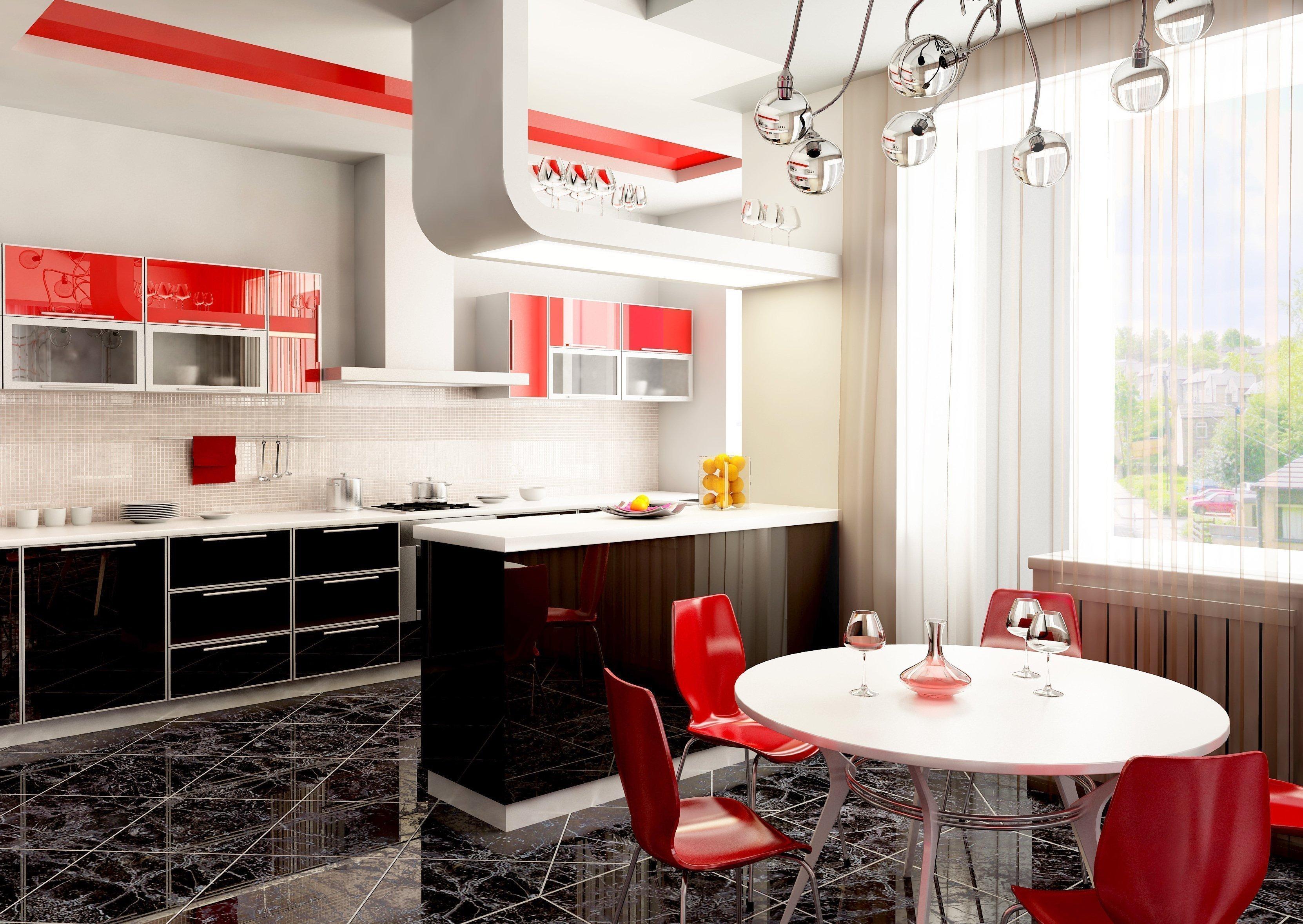 Светлый интерьер кухни в квартире с красными акцентами