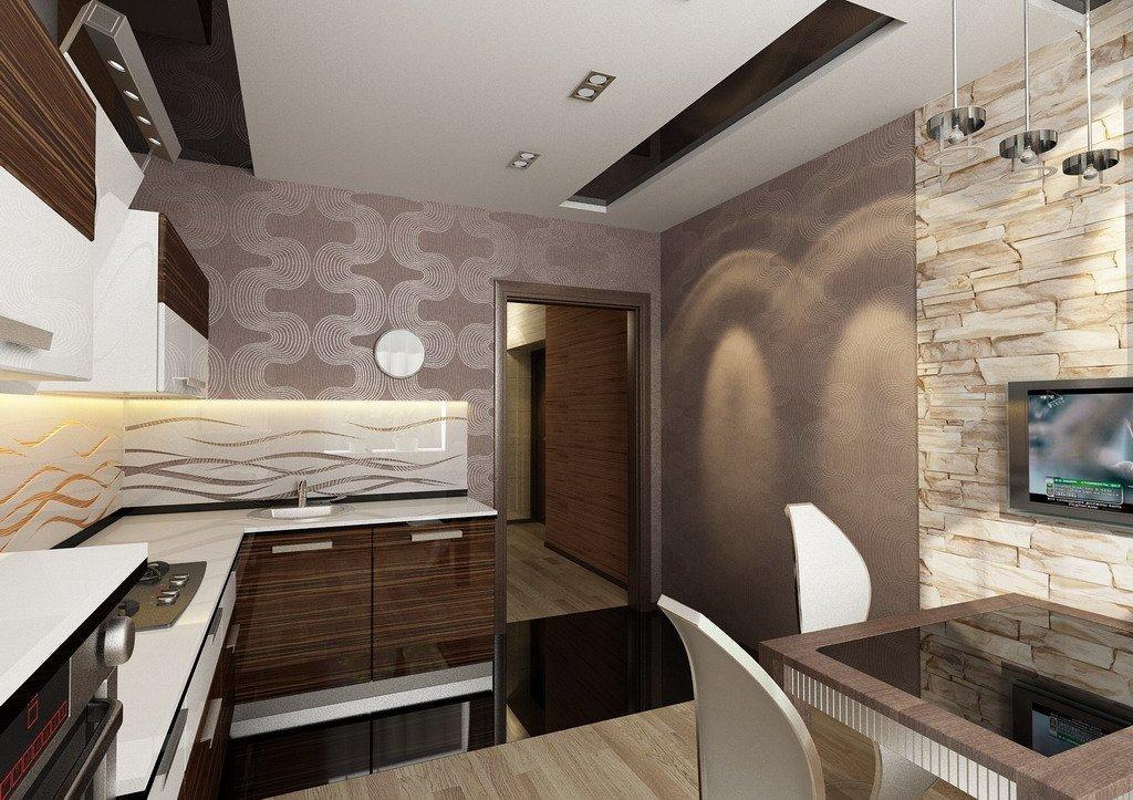 Светлый потолок на кухне в квартире