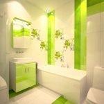 Бело-салатовая ванная