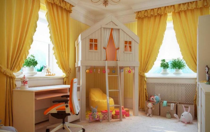 Желтый декор детской