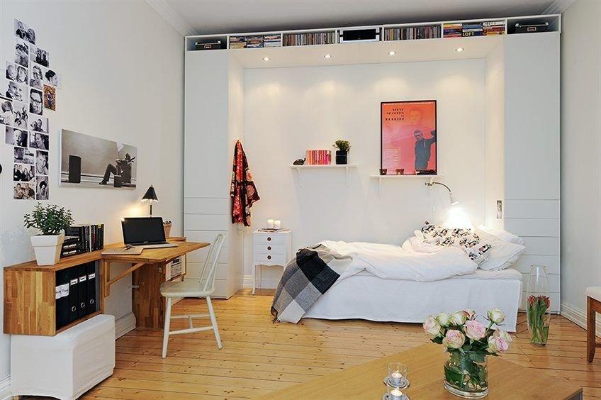 Мебель в интерьере спальни с кабинетом