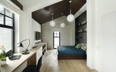 Дизайн спальни-кабинета +75 фото примеров зонирования