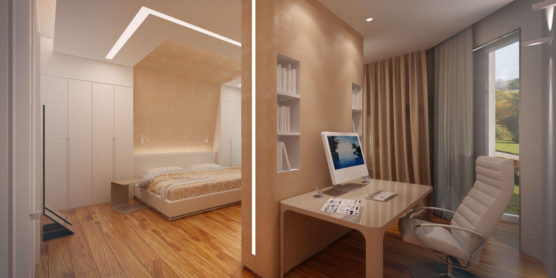 Освещение в интерьере спальни с кабинетом