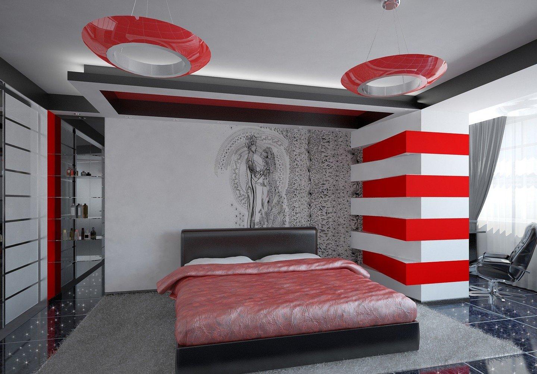 Яркие цвета в интерьере спальни в стиле хай-тек