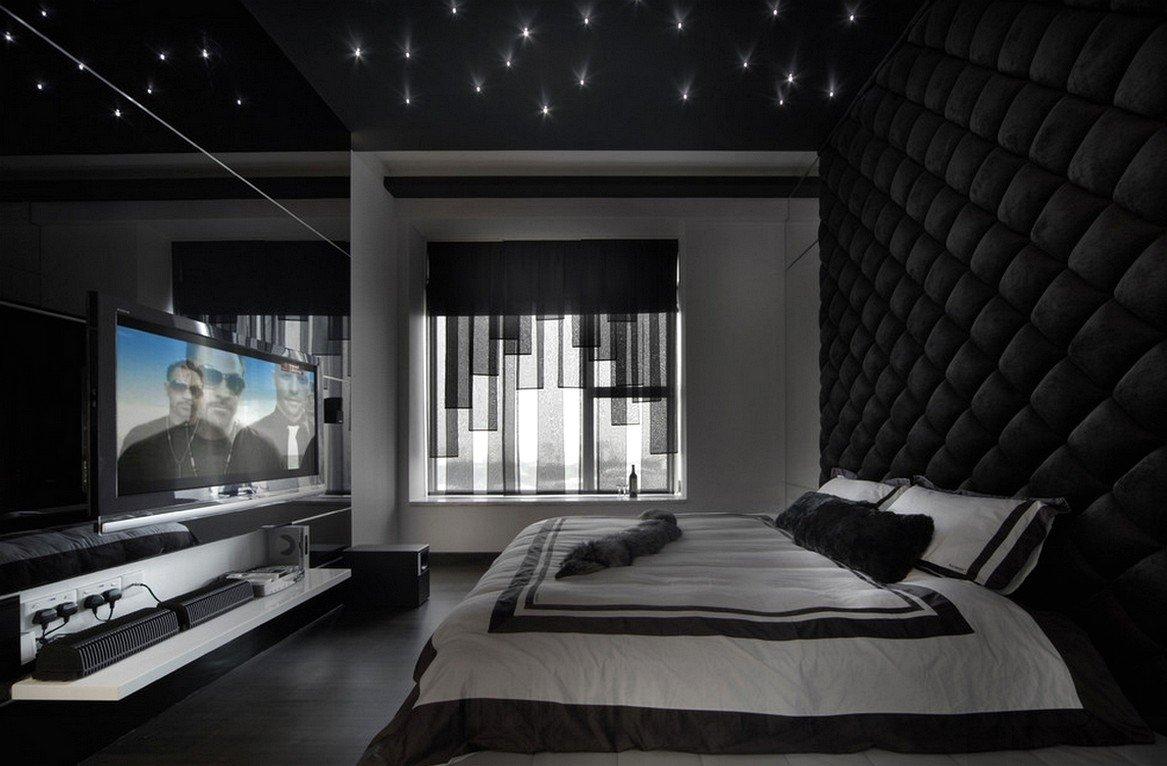 Черные стены в интерьере в стиле хай-тек
