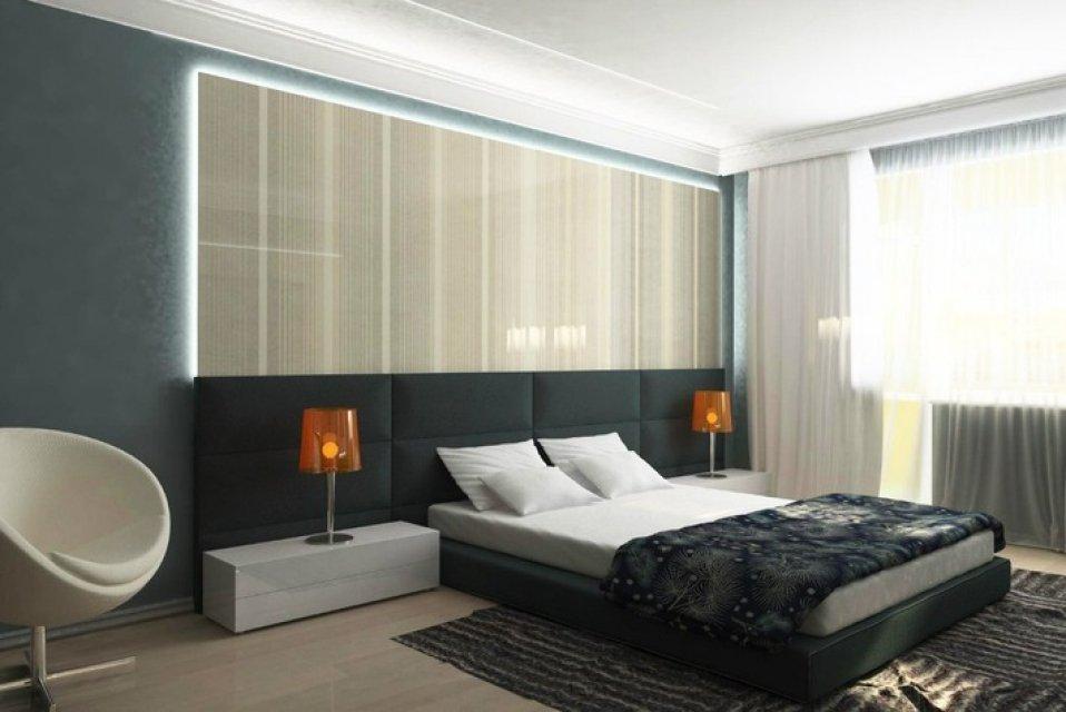 Фото простой спальни в стиле хай тек