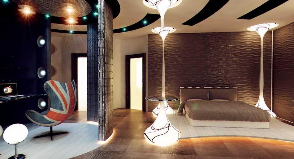 Колонны с подсветкой в интерьере
