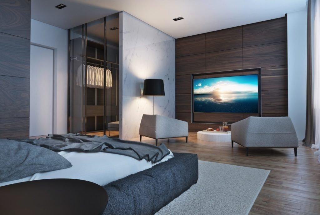 Дизайн спальни в стиле хайтек
