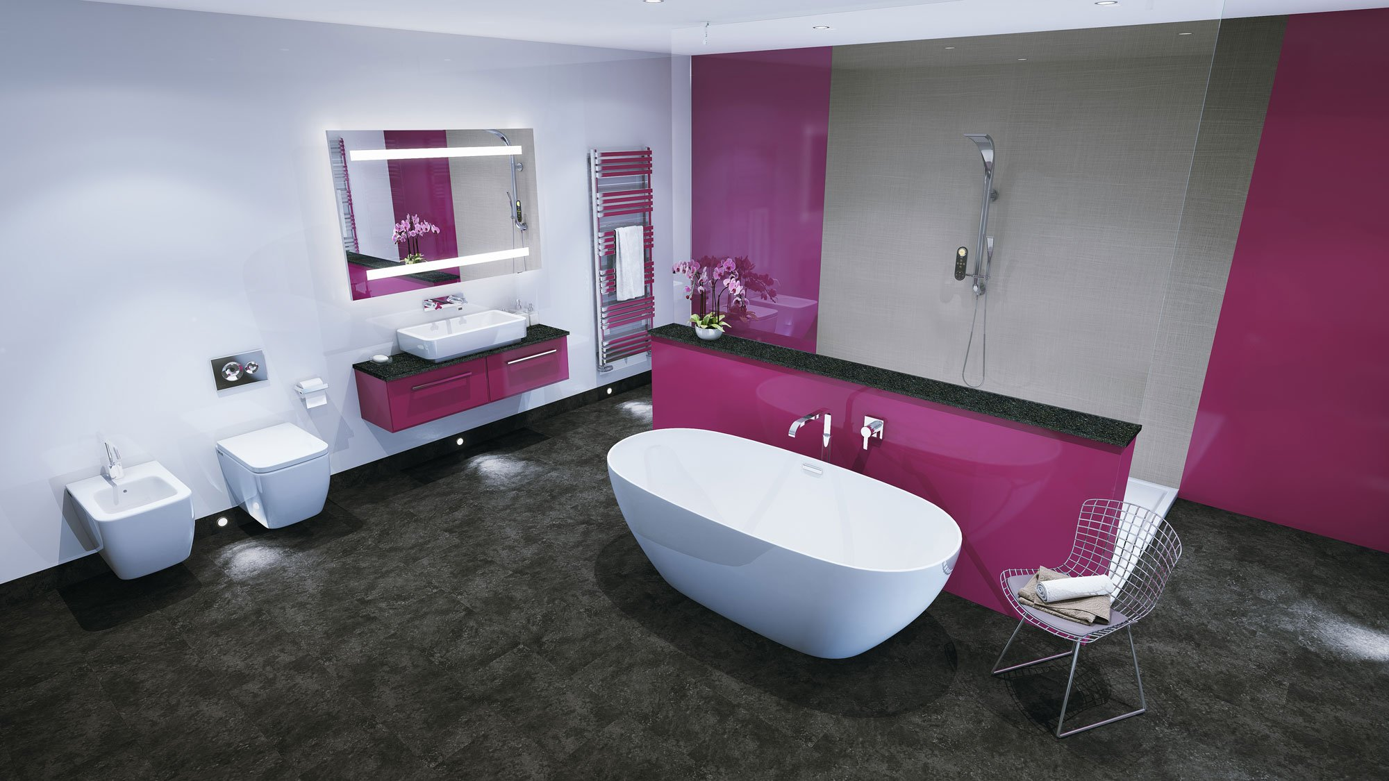 Ванная с пластиковыми панелями в стиле модерн