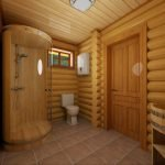 Shower cabin made of wood