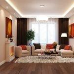 Потолок с подсветкой в гостиной