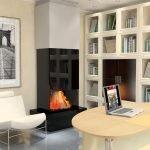 Книжный шкаф вдоль стены