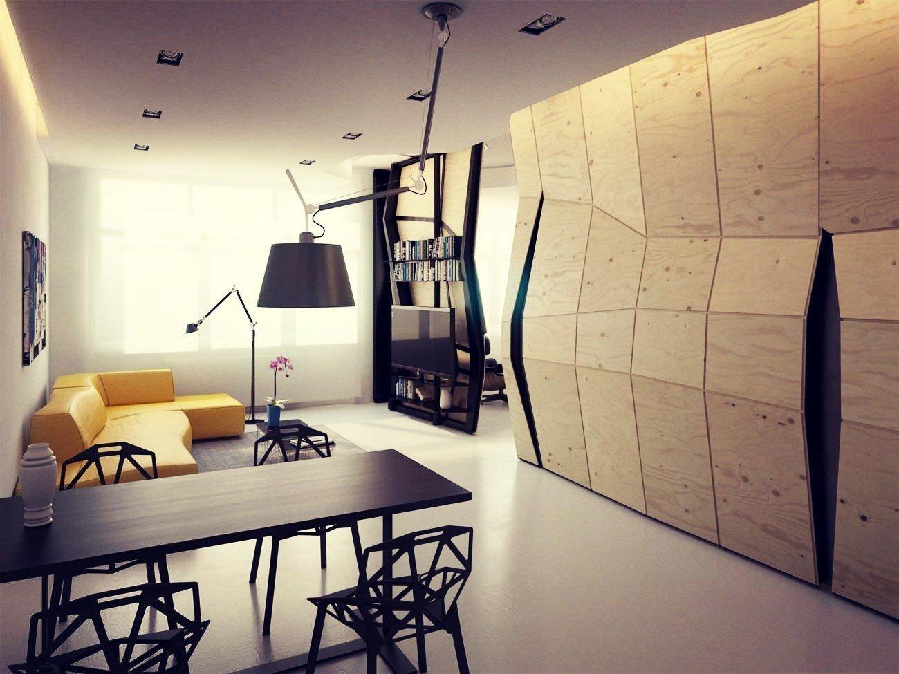 Натуральные отделочные материалы в интерьере в стиле конструктивизм