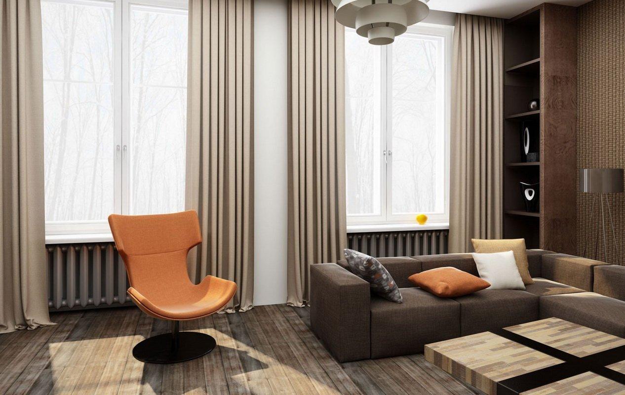 Зал с кофейными шторами