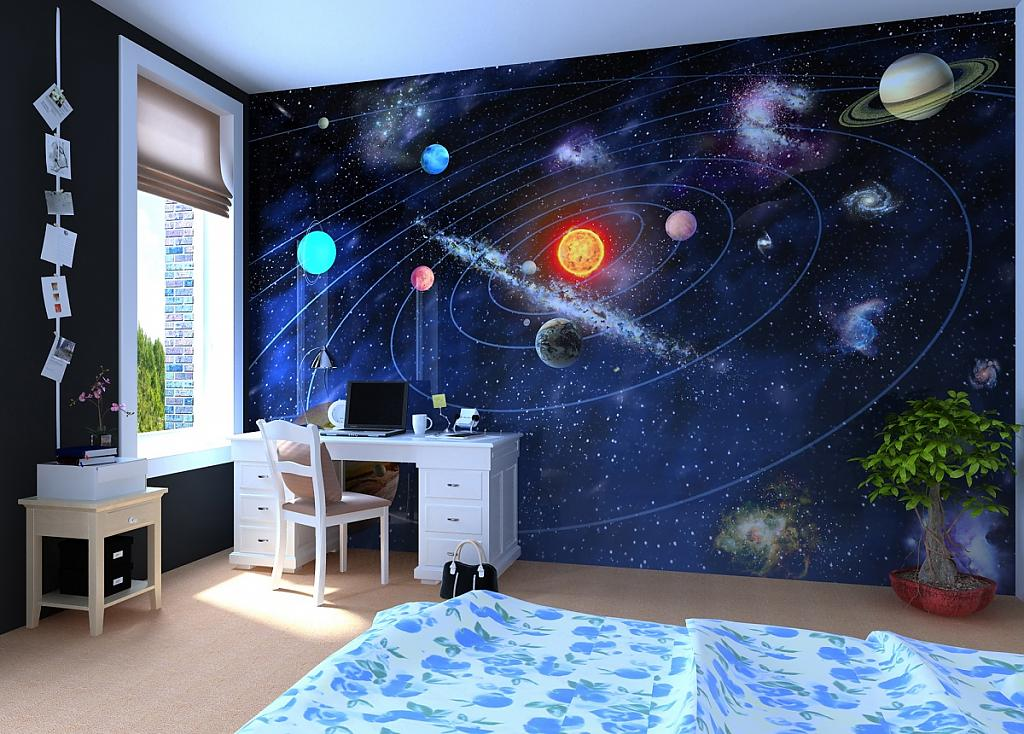 Декор стены в стиле космоса