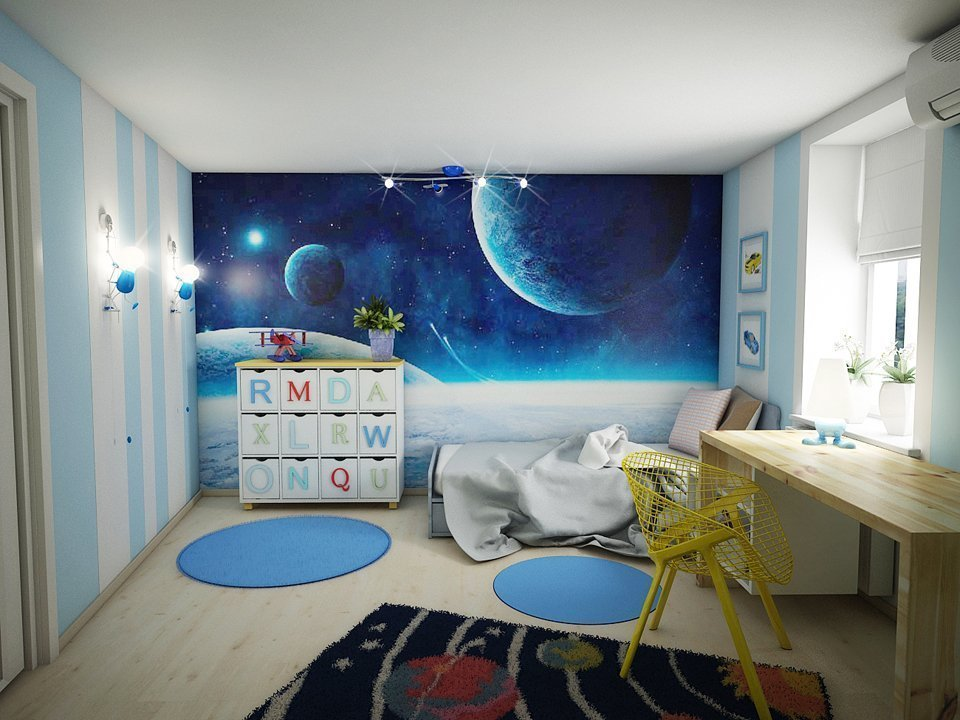 Комната для мальчика в космическом декоре