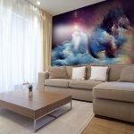 Гостиная в космосом на стене