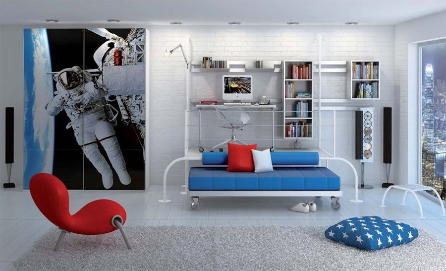 Уютная комната в стиле космоса