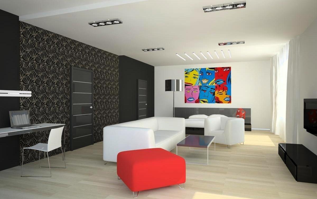 Светлая мебель в интерьере в стиле поп-арт
