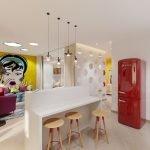 Красный холодильник в белом интерьере