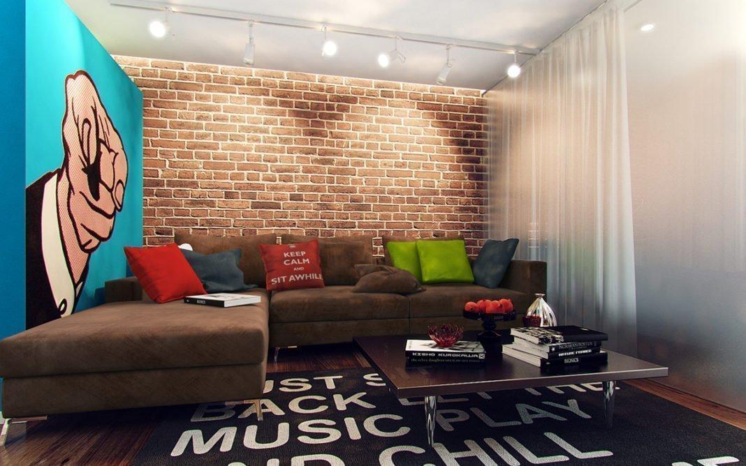 Кирпичная стена в интерьере в стиле поп-арт