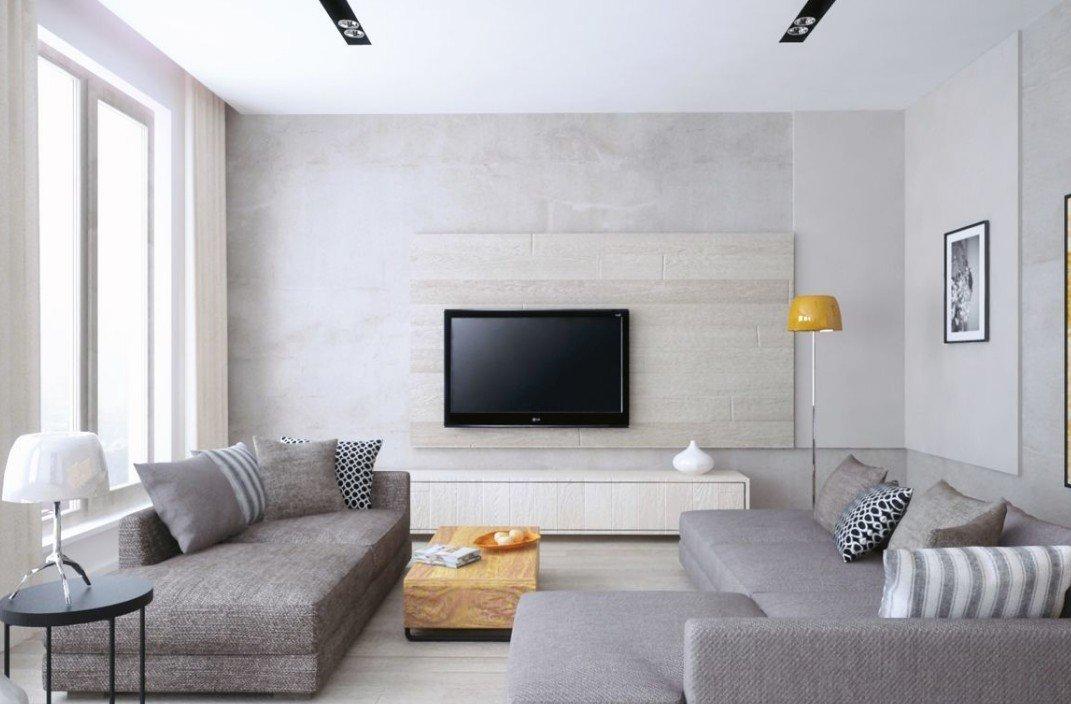 Серый диван в современном интерьере