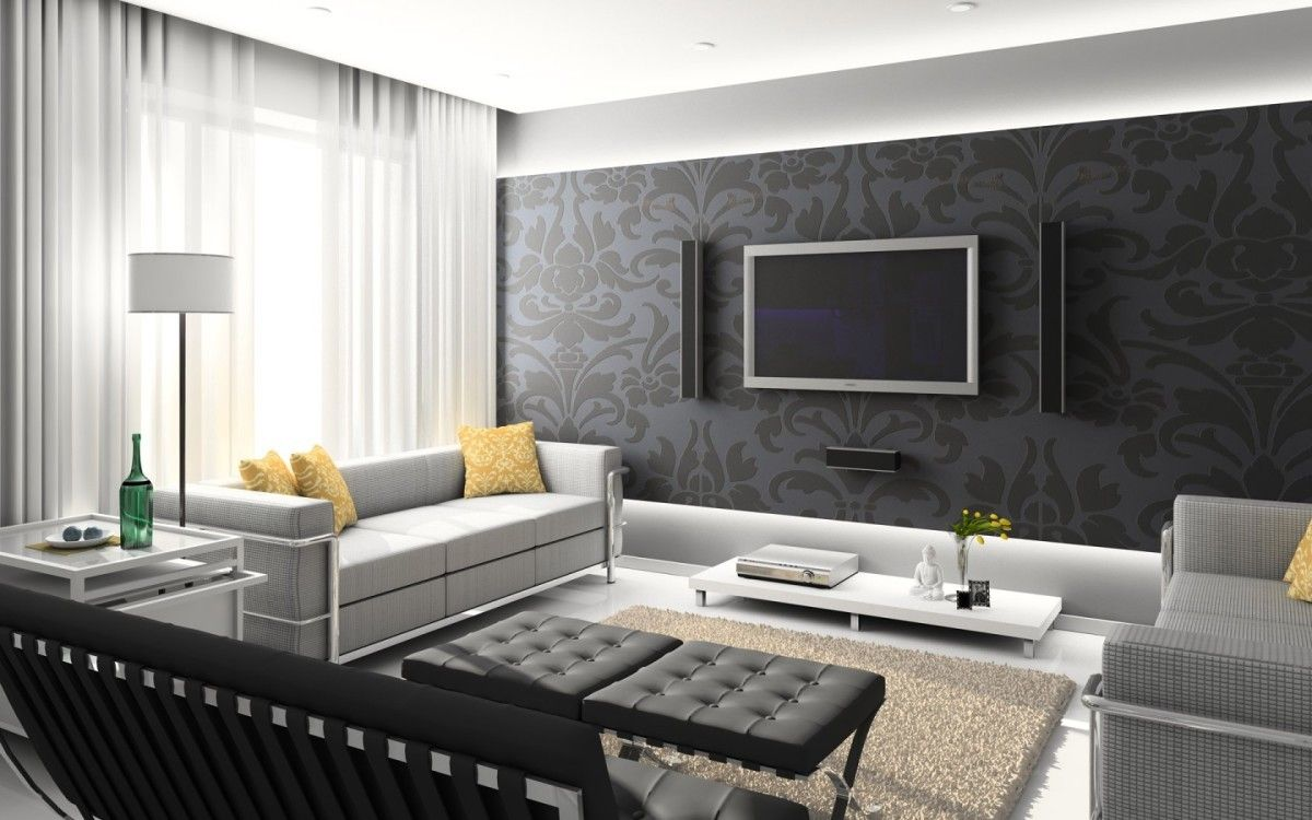 Светло-серый диван в гостиной