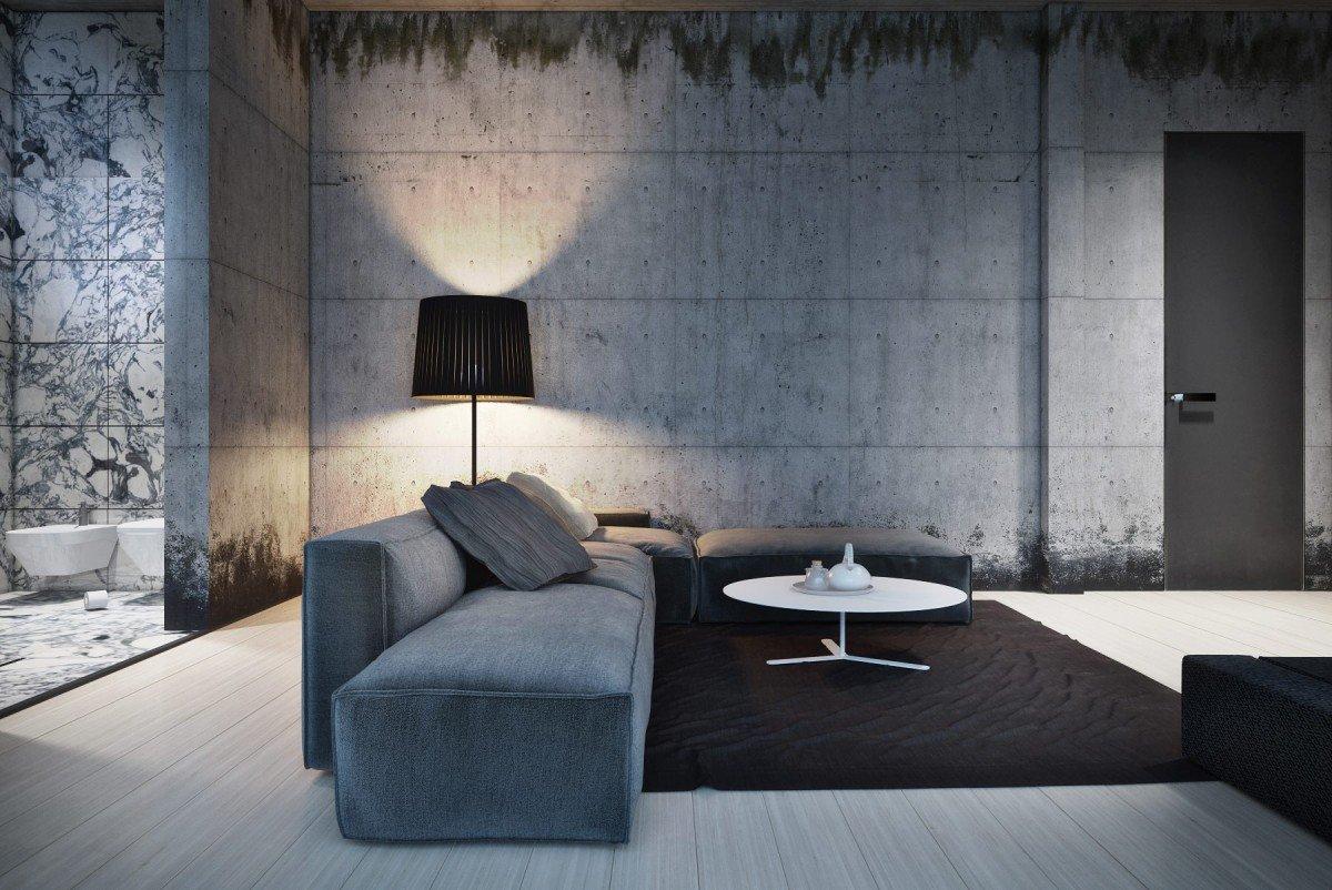 Гостиная в стиле минимализм с серым полом