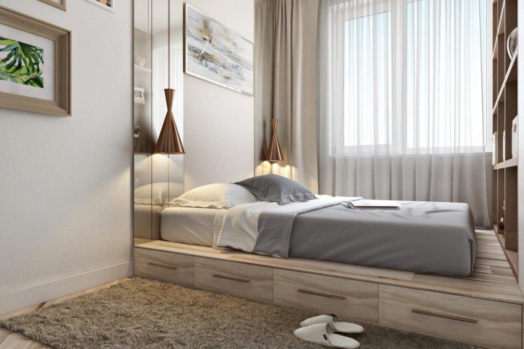Креативная спальня 6 кв. м.