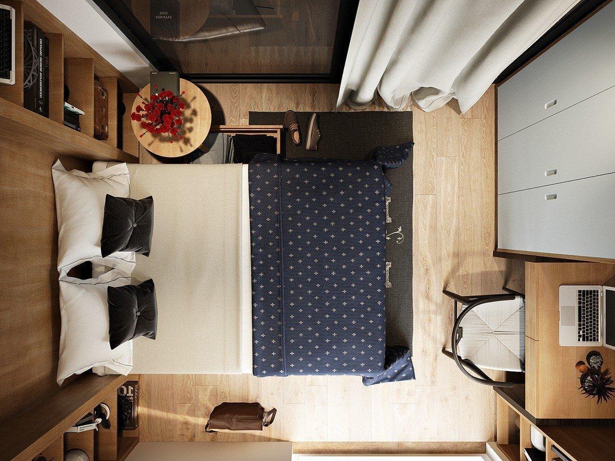 Планировка маленькой супружеской спальни