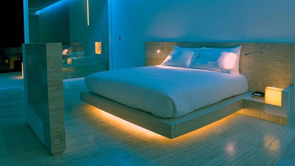 Bed with light