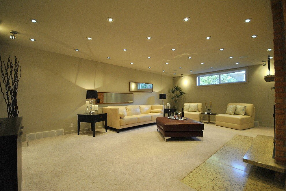 Built-in lights in the living room interior