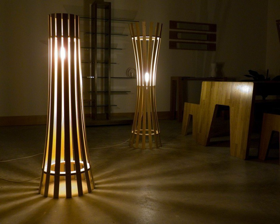 Closed floor lamps in the interior