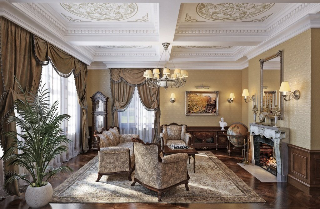 Classic style interior with lamps