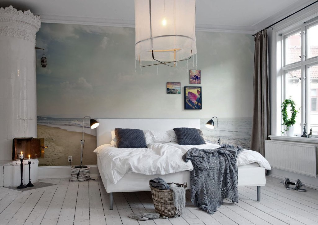 Scandinavian style interior with lamps