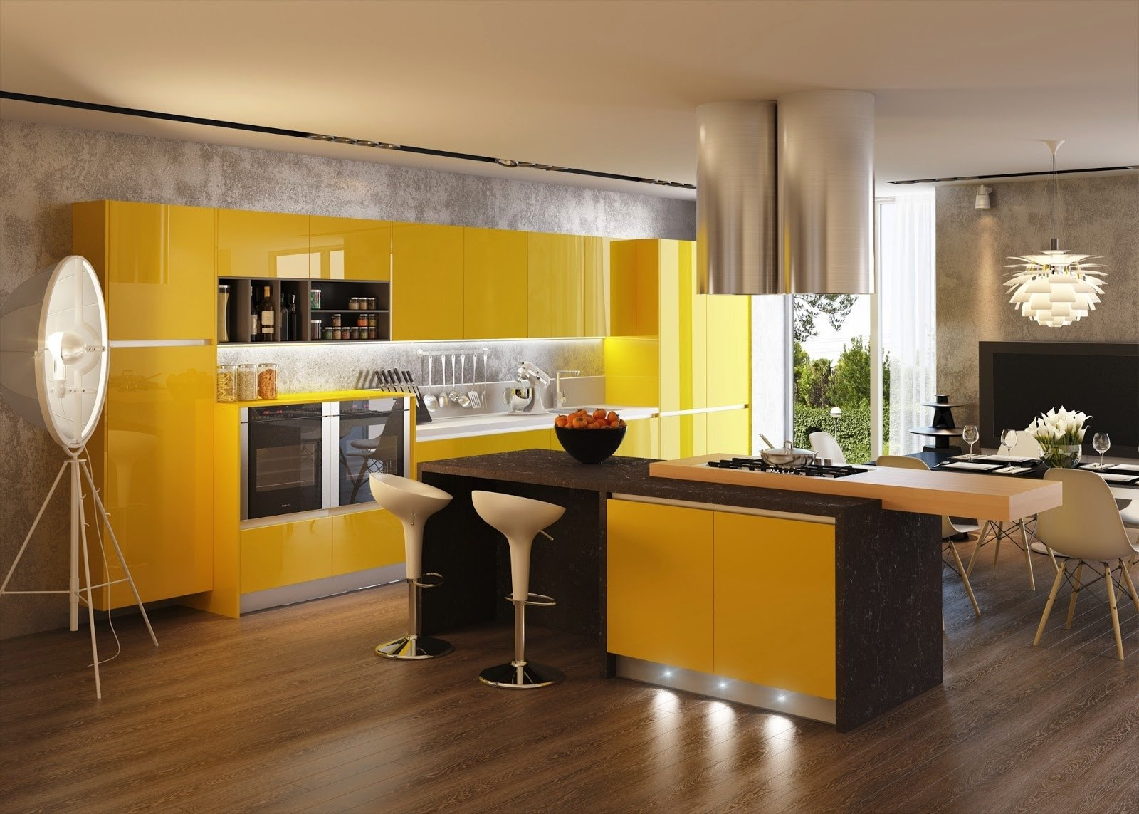 Интерьер с желтой кухней