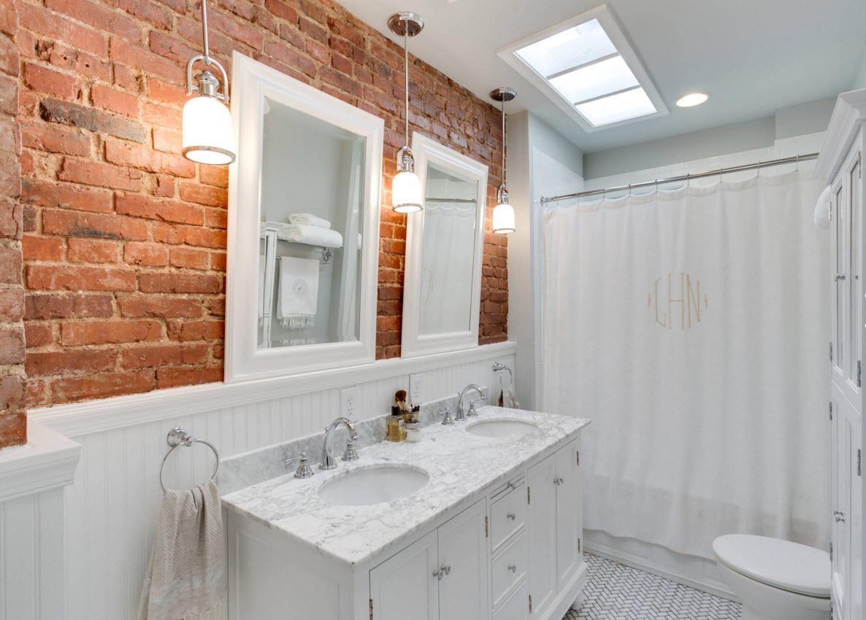 Кирпич в декор ванной комнаты
