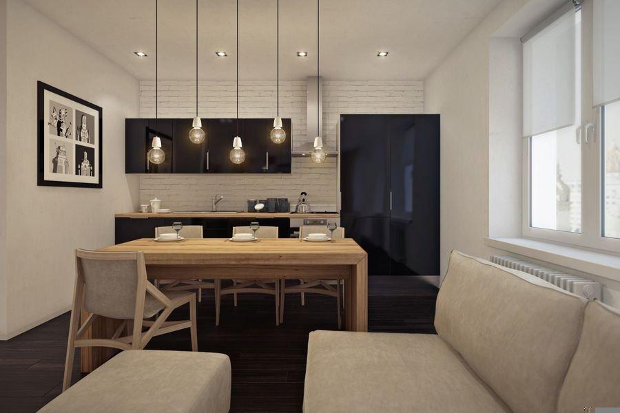 Обустройство кухни-гостиной в евродвушке