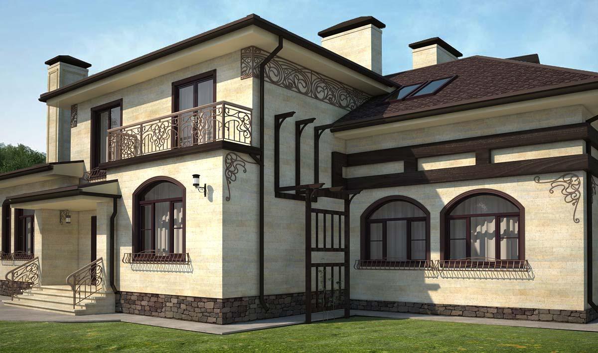 Дом со светлым фасадом
