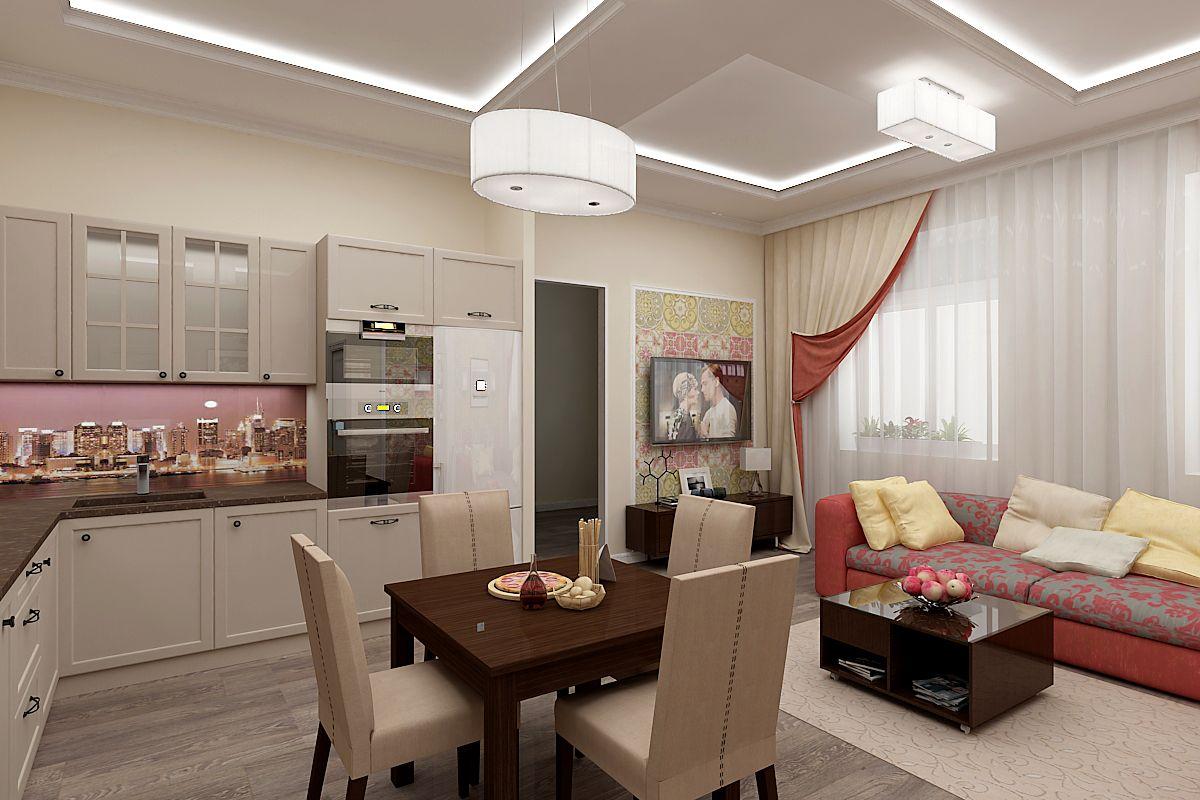 Простой дизайн кухни гостиной фото