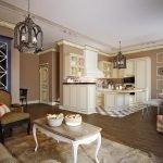 Шахматный пол в кухонной зоне