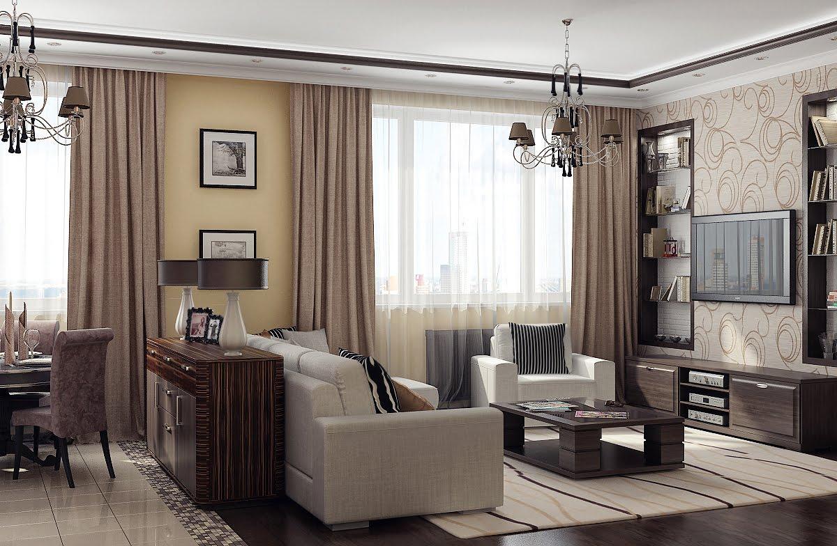 Песочный цвет в интерьере гостиной