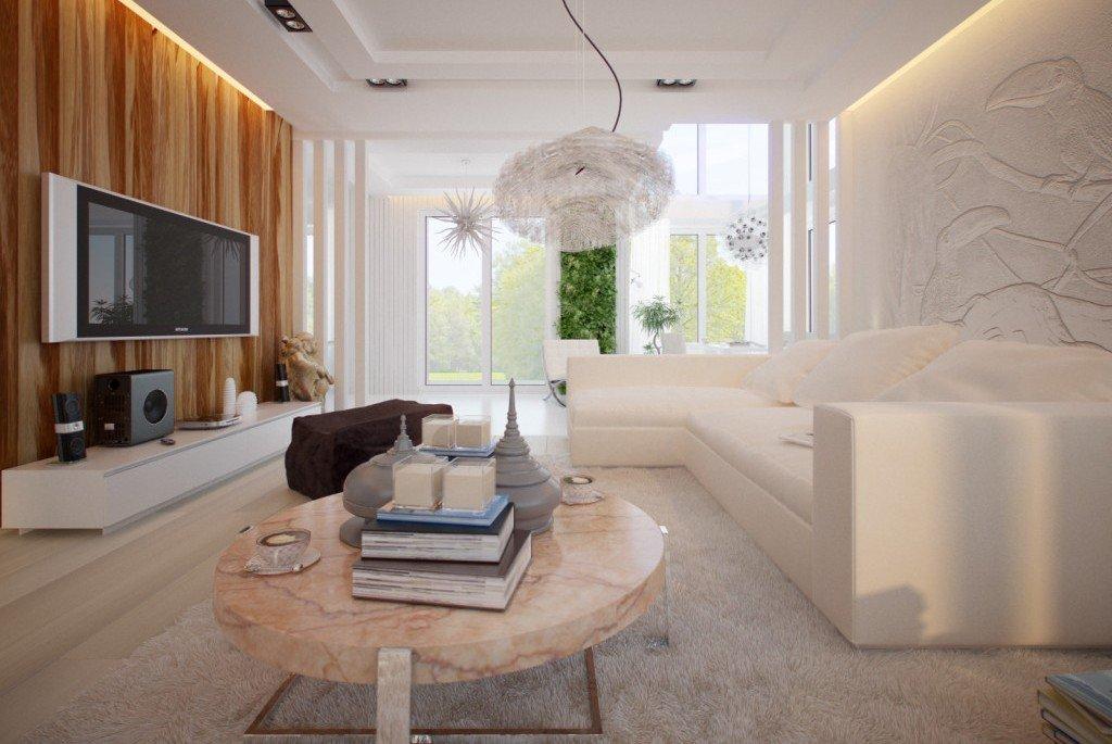 Светлые тона в интерьере гостиной в стиле минимализм