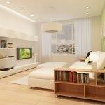 Сочетание белых и салатовых стен в гостиной